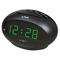Оригинальный дизайн! часы-будильник vst 711-4, зелёный светодиодный дисплей, питание от сети + резервное, фото 1