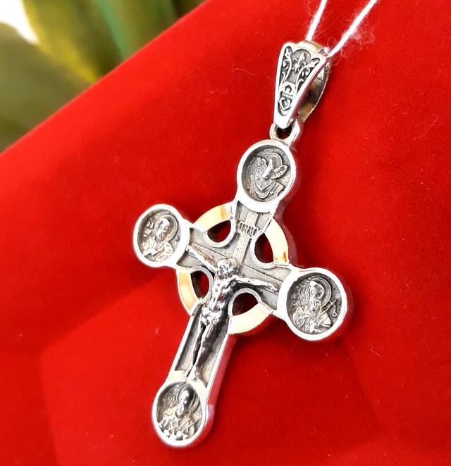 Чоловічий хрестик срібло з золотом картинка 1