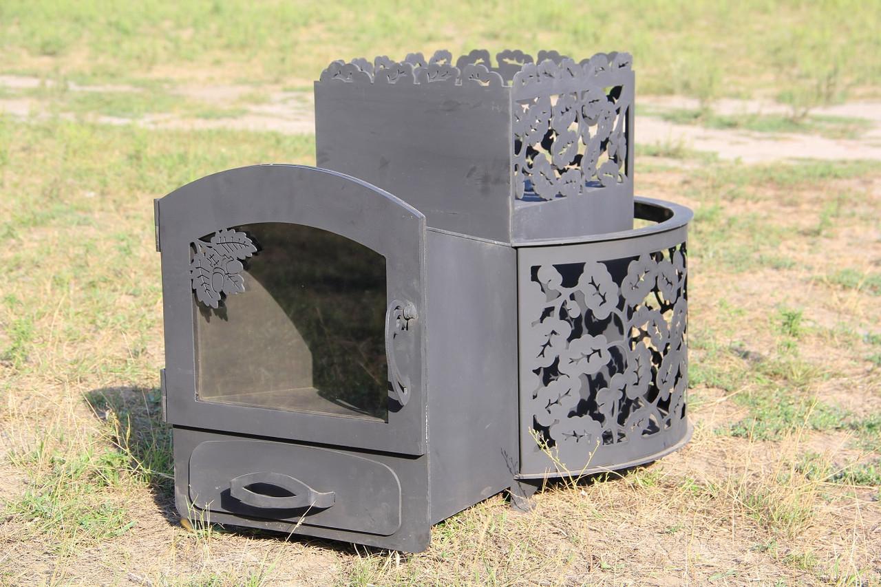 """Печь для бани на дровах """"Каменка с выносом, со стеклом"""", 8мм"""