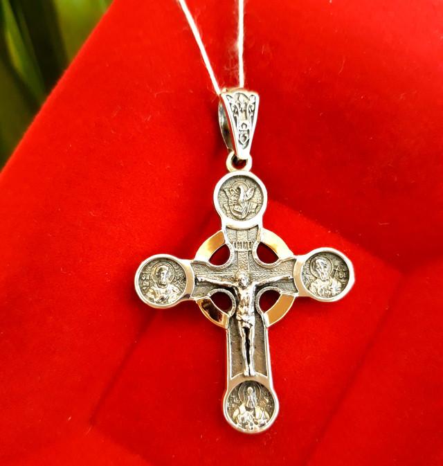 Чоловічий хрестик срібло з золотом картинка 3