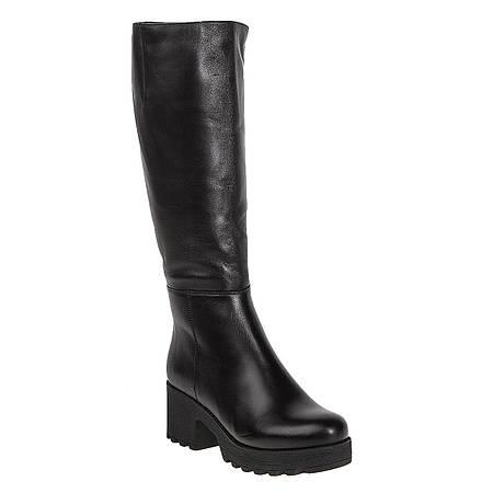 Сапоги женские Viko (черные, кожаные, на удобном каблуке, модные)