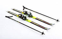 Лыжи беговые с палками желтые 150 см ZEL