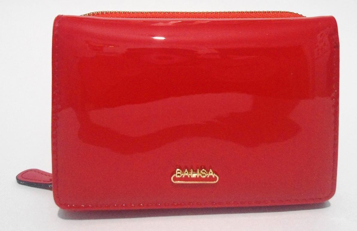 Стильный женский лаковый кошелек BАLISА красного цвета WLA-000812, фото 1