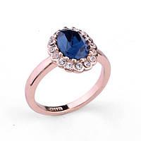 Кольцо БИТИ BLUE ювелирная бижутерия золото 18к декор кристаллы Swarovski