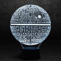 "3D Ночник , Светильник, LED лампа - ""Звезда смерти"""