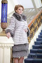 Шуба полушубок из песца и чернобурки blue fox and silver fox fur coat