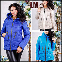 """Женская куртка """"Сон"""" 44,46,48,50,52,54,56 батал на молнии с капюшоном весенняя осенняя короткая синяя яркая"""