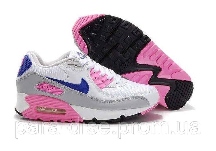 f2ff6a053dda Женские кроссовки Nike Air Max 90 White Blue Rose Grey Tape Копия ...