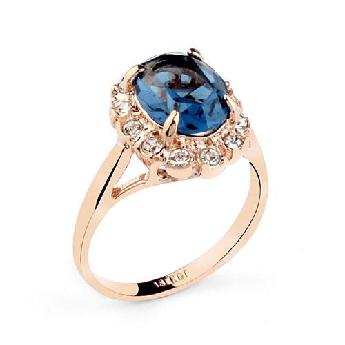 Кольцо БИТИ BLUE1 ювелирная бижутерия золото 18к декор кристаллы Swarovski