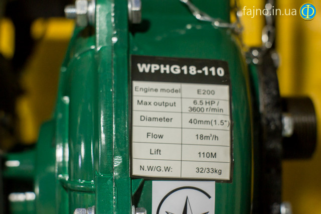 Бензиновая мотопомпа высокого давления Iron Angel WPGH 18-110