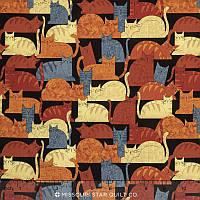 """Ткань для пэчворка и рукоделия американский хлопок """"Коты на черном"""" - 22*55 см"""