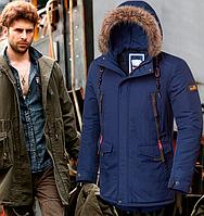 Куртка мужская парка - 4933 синий, фото 1