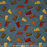 """Ткань для пэчворка и рукоделия американский хлопок """"Коты, синий горошек"""" - 22*55 см"""