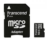 Карта памяти microSDHC Transcend 4Gb class 4 (adapter SD)