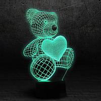 "3D Ночник , Светильник, LED лампа - ""Мишка с сердцем"""