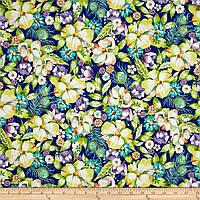 """Ткань для пэчворка и рукоделия американский хлопок """"Цветы и перья"""", ЗОЛОТО - 22*55 см"""