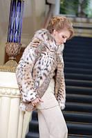 Шуба полушубок из рыси с капюшоном hooded lynx fur coat, фото 1