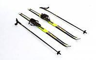 Лыжи беговые с палками желтые 110 см ZEL