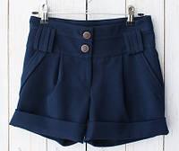 Школьные шорты для девочки, синие