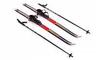 Лыжи беговые с палками красные 120 см ZEL