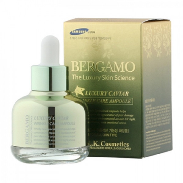 Антивозрастная сыворотка с Икрой осетровых Bergamo Luxury Caviar Wrinkle Care Ampoule,30ml