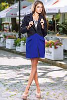 Двухцветное кашемировое пальто с карманами