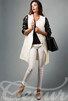 Легкое кашемировое пальто с кожаными рукавами