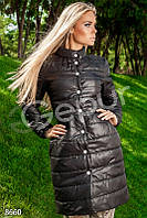 Пальто стеганное длинное