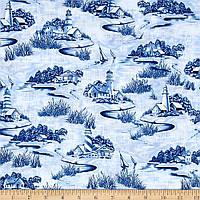"""Ткань для пэчворка и рукоделия американский хлопок """"Маяки сине-голубые"""" - 22*55 см"""