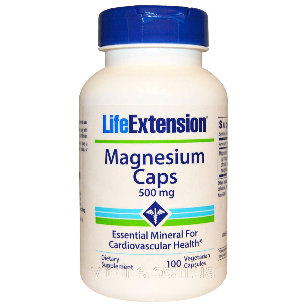 Life Extension, Магний, капсулы, 500 мг, 100 вегетарианских капсул