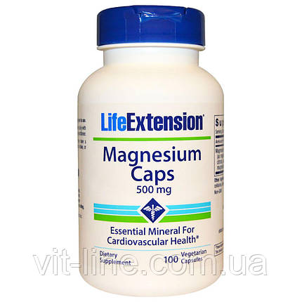 Life Extension, Магний, капсулы, 500 мг, 100 вегетарианских капсул, фото 2