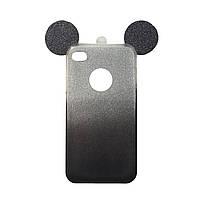 Чехол силиконовый с перламутровым отливом Ears для iPhone 4 черный