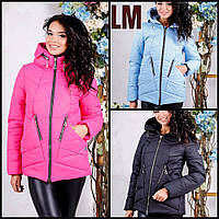 """Женская куртка """"Сон2"""" 44,46,48,50,52,54,56 батал на молнии с капюшоном весенняя осенняя короткая синяя яркая"""