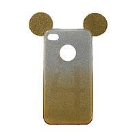 Чехол силиконовый с перламутровым отливом Ears для iPhone 4 золотой