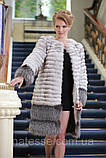 Шуба кожушок з песця і чорнобурки blue fox and silver fox fur coat, фото 3