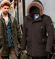 Модная зимняя мужская куртка парка - 4933 коричневый