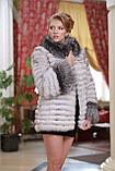 Шуба кожушок з песця і чорнобурки blue fox and silver fox fur coat, фото 4