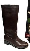 Сапоги-трубы женские Sofis демисезонные/зимние кожаные коричневые/черные So093