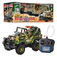 Детские Радиоуправляемые машинки Джип HQ315 - на батарейках, 30см, 2 цвета, военный, свет., колеса резин., в