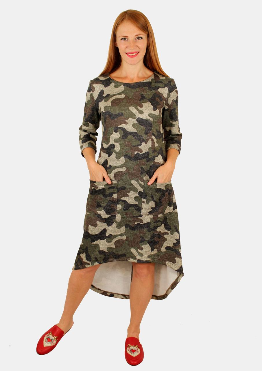 Платье хаки свободного кроя 44-50 р