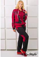 Спортивный женский бордовый костюм НЕЙЛИ Olis-Style 54-64 размеры
