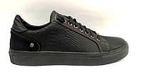 Туфли-слипоны мужские верх: натуральная кожа под питона черные Uk0477