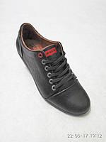 Мужские кожаные туфли черные Levi's, фото 1