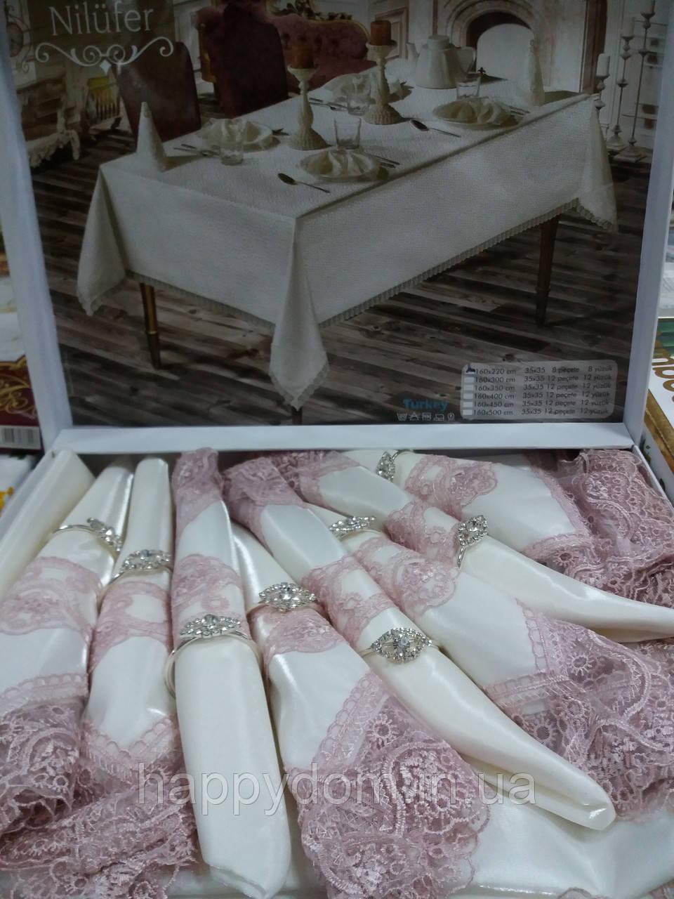 Скатерть с салфетками 8шт бамбук