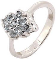 Серебряное кольцо с природным голубым топазом. Размер 17 (BS26R)