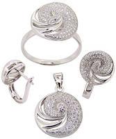 Набор Серебро 925 Цирконы класса ААА (BS32) Кольцо 18р