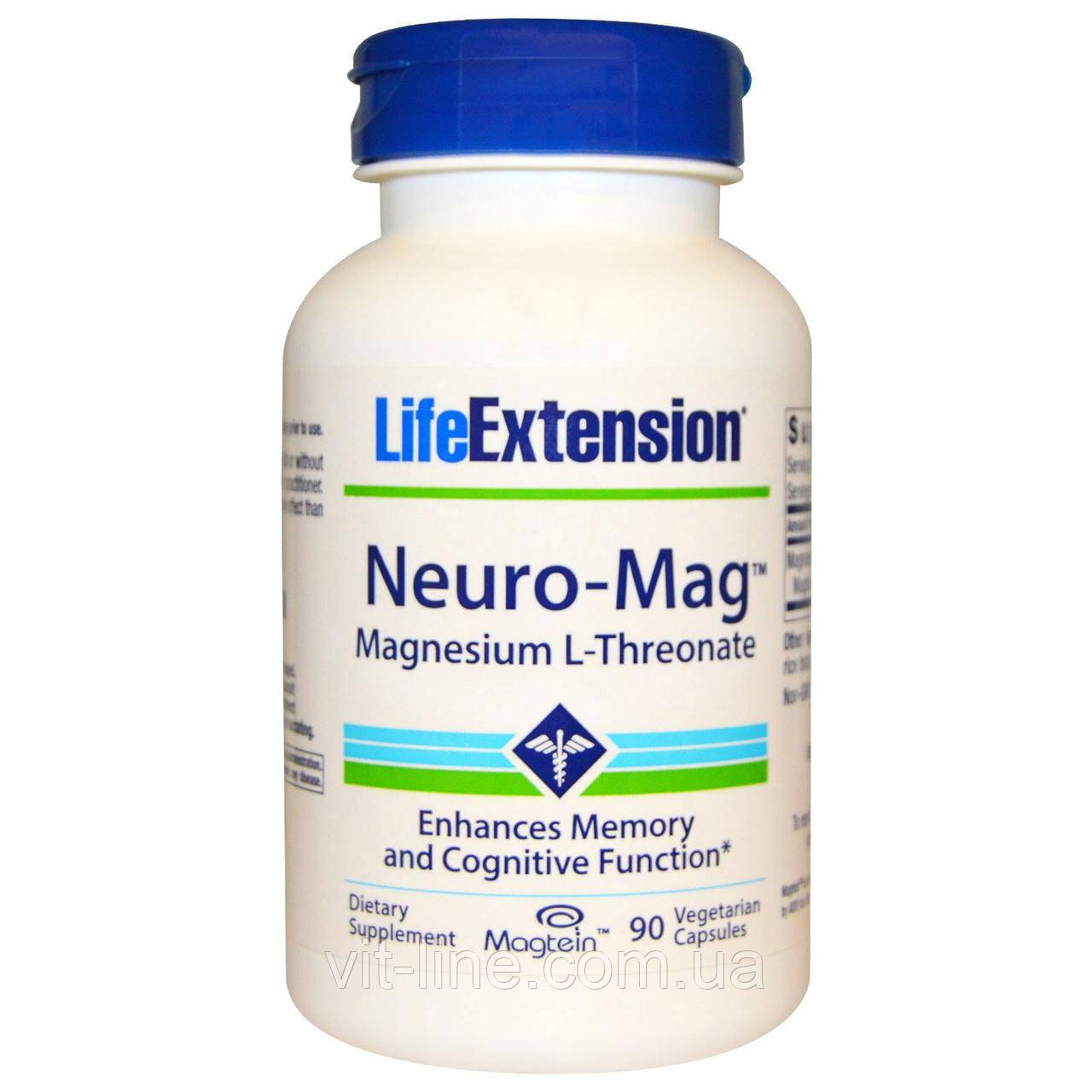 Life Extension, Neuro-Mag, магний L-треонат, 90 вегетарианских капсул