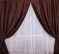 Ткань для штор блэкаут СОФТ шоколад (двухсторонняя)