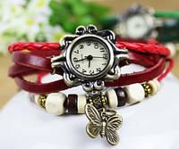 Часы браслет с бабочкой (красные)