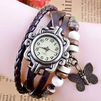 Часы браслет с бабочкой (темно-коричневые)